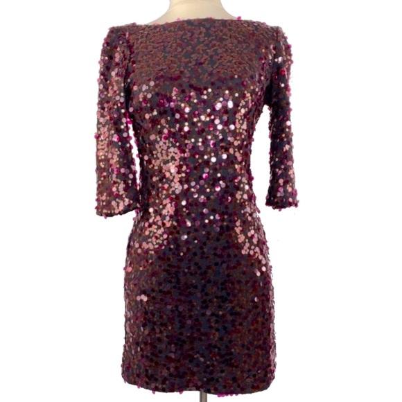 Jessica Simpson burgundy & black sequin dress